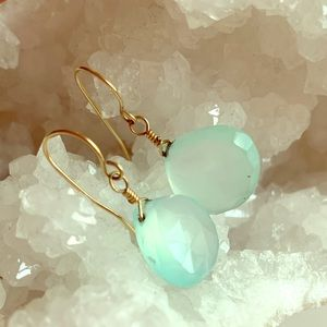 Blue Green Faceted Quartz Gold Wire Earrings